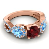 Three Stone Pave Varsa Garnet Ring with Swiss Blue Topaz in 14K Rose Gold