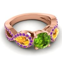 Three Stone Pave Varsa Peridot Ring with Citrine and Amethyst in 18K Rose Gold