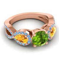 Three Stone Pave Varsa Peridot Ring with Citrine and Swiss Blue Topaz in 18K Rose Gold