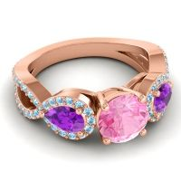 Three Stone Pave Varsa Pink Tourmaline Ring with Amethyst and Aquamarine in 18K Rose Gold