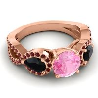 Three Stone Pave Varsa Pink Tourmaline Ring with Black Onyx and Garnet in 18K Rose Gold