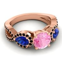 Three Stone Pave Varsa Pink Tourmaline Ring with Blue Sapphire and Black Onyx in 14K Rose Gold