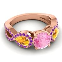 Three Stone Pave Varsa Pink Tourmaline Ring with Citrine and Amethyst in 14K Rose Gold