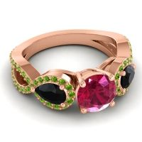 Three Stone Pave Varsa Ruby Ring with Black Onyx and Peridot in 14K Rose Gold