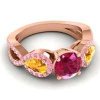 Three Stone Pave Varsa Ruby Ring with Citrine and Pink Tourmaline in 14K Rose Gold