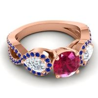Three Stone Pave Varsa Ruby Ring with Diamond and Blue Sapphire in 14K Rose Gold