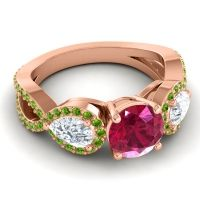 Three Stone Pave Varsa Ruby Ring with Diamond and Peridot in 14K Rose Gold