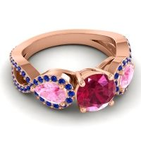 Three Stone Pave Varsa Ruby Ring with Pink Tourmaline and Blue Sapphire in 14K Rose Gold
