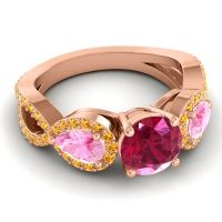 Three Stone Pave Varsa Ruby Ring with Pink Tourmaline and Citrine in 14K Rose Gold