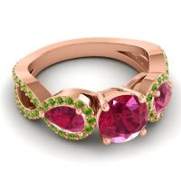 Three Stone Pave Varsa Ruby Ring with Peridot in 18K Rose Gold