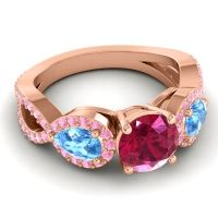 Three Stone Pave Varsa Ruby Ring with Swiss Blue Topaz and Pink Tourmaline in 18K Rose Gold