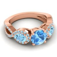 Three Stone Pave Varsa Swiss Blue Topaz Ring with Aquamarine in 18K Rose Gold