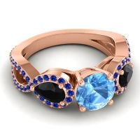 Three Stone Pave Varsa Swiss Blue Topaz Ring with Black Onyx and Blue Sapphire in 18K Rose Gold