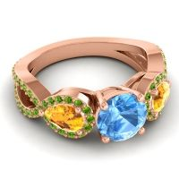 Three Stone Pave Varsa Swiss Blue Topaz Ring with Citrine and Peridot in 18K Rose Gold
