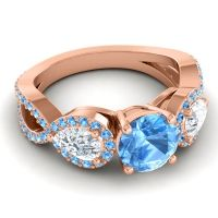 Three Stone Pave Varsa Swiss Blue Topaz Ring with Diamond in 14K Rose Gold