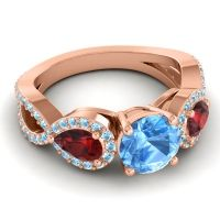 Three Stone Pave Varsa Swiss Blue Topaz Ring with Garnet and Aquamarine in 18K Rose Gold
