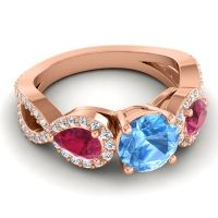 Three Stone Pave Varsa Swiss Blue Topaz Ring with Ruby and Diamond in 18K Rose Gold