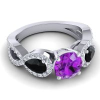 Three Stone Pave Varsa Amethyst Ring with Black Onyx and Diamond in 14k White Gold