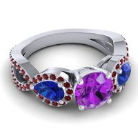 Three Stone Pave Varsa Amethyst Ring with Blue Sapphire and Garnet in Platinum