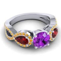 Three Stone Pave Varsa Amethyst Ring with Garnet and Citrine in Platinum