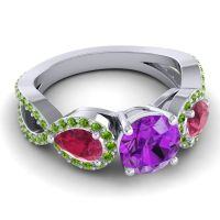 Three Stone Pave Varsa Amethyst Ring with Ruby and Peridot in Platinum