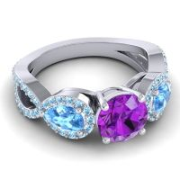 Three Stone Pave Varsa Amethyst Ring with Swiss Blue Topaz and Aquamarine in Platinum