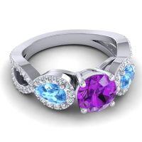 Three Stone Pave Varsa Amethyst Ring with Swiss Blue Topaz and Diamond in Platinum