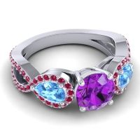 Three Stone Pave Varsa Amethyst Ring with Swiss Blue Topaz and Ruby in Platinum