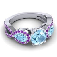 Three Stone Pave Varsa Aquamarine Ring with Amethyst in 18k White Gold