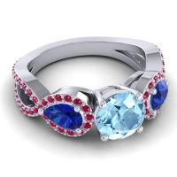 Three Stone Pave Varsa Aquamarine Ring with Blue Sapphire and Ruby in 14k White Gold
