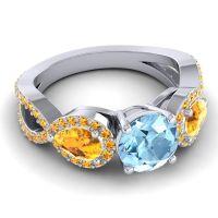 Three Stone Pave Varsa Aquamarine Ring with Citrine in 14k White Gold
