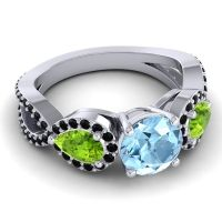 Three Stone Pave Varsa Aquamarine Ring with Peridot and Black Onyx in 18k White Gold