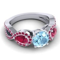 Three Stone Pave Varsa Aquamarine Ring with Ruby in 18k White Gold