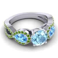 Three Stone Pave Varsa Aquamarine Ring with Swiss Blue Topaz and Peridot in 18k White Gold