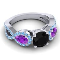 Three Stone Pave Varsa Black Onyx Ring with Amethyst and Swiss Blue Topaz in 18k White Gold