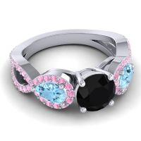 Three Stone Pave Varsa Black Onyx Ring with Aquamarine and Pink Tourmaline in 14k White Gold