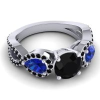 Three Stone Pave Varsa Black Onyx Ring with Blue Sapphire in 14k White Gold