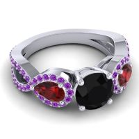Three Stone Pave Varsa Black Onyx Ring with Garnet and Amethyst in 18k White Gold