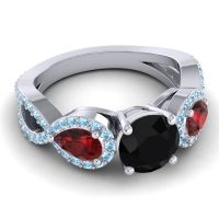 Three Stone Pave Varsa Black Onyx Ring with Garnet and Aquamarine in 14k White Gold