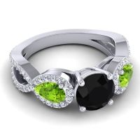 Three Stone Pave Varsa Black Onyx Ring with Peridot and Diamond in 18k White Gold