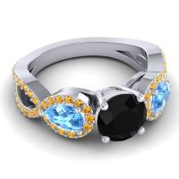 Three Stone Pave Varsa Black Onyx Ring with Swiss Blue Topaz and Citrine in 14k White Gold