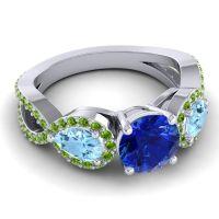 Three Stone Pave Varsa Blue Sapphire Ring with Aquamarine and Peridot in 18k White Gold