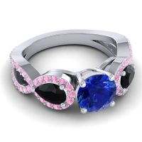 Three Stone Pave Varsa Blue Sapphire Ring with Black Onyx and Pink Tourmaline in 18k White Gold