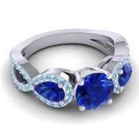 Three Stone Pave Varsa Blue Sapphire Ring with Aquamarine in 18k White Gold