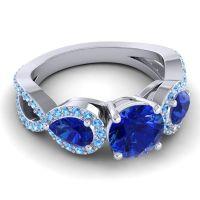Three Stone Pave Varsa Blue Sapphire Ring with Swiss Blue Topaz in Palladium