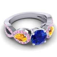 Three Stone Pave Varsa Blue Sapphire Ring with Citrine and Pink Tourmaline in Platinum