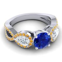 Three Stone Pave Varsa Blue Sapphire Ring with Diamond and Citrine in Palladium