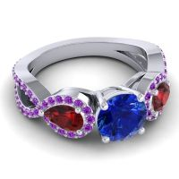 Three Stone Pave Varsa Blue Sapphire Ring with Garnet and Amethyst in 18k White Gold