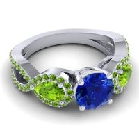 Three Stone Pave Varsa Blue Sapphire Ring with Peridot in Platinum