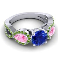 Three Stone Pave Varsa Blue Sapphire Ring with Pink Tourmaline and Peridot in Palladium